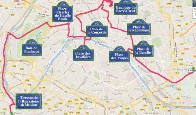 Itinéraire de la 7e Traversée de Paris estivale